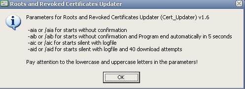Параметри командного рядка для Cert_Updater